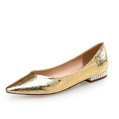 Mujer Zapatos Cuero / PU Confort / Innovador Bailarinas Tacón Plano Dedo Puntiagudo Dorado / Plata / Fiesta y Noche