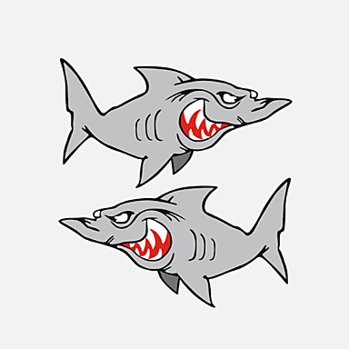 Funny Shark Car Sticker Car Window Wall Decal Car Styling 2PCS