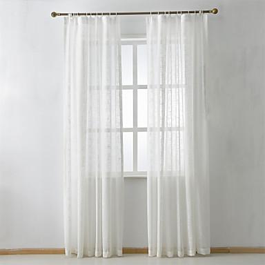 Propp Topp Dobbelt Plissert To paneler Window Treatment Moderne Neoklassisk Land, Mønstret Ensfarget Soverom Lin/ Polyester Blanding