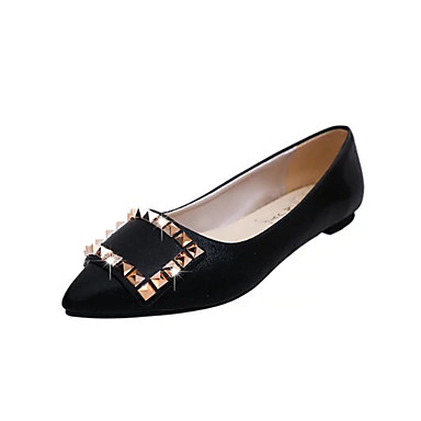 Dame Sko PU Vår Komfort Flate sko Gange Flat hæl Spisstå Nagle til Gull Svart Sølv