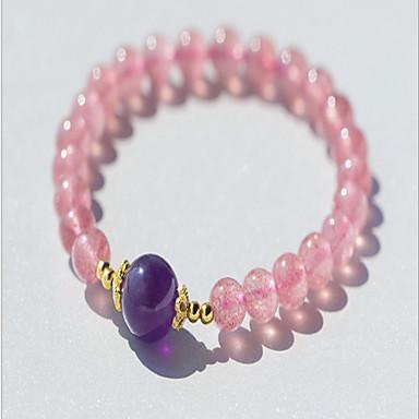 abordables Bracelet-Bracelet à Perles Femme Cristal Argent sterling Etoile Naturel Mode Bracelet Bijoux Rose foncé pour Anniversaire