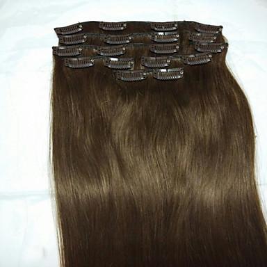 Reto Com Presilha Extensões de cabelo humano 8pcs / Pacote 80g / Pacote Marrom Médio 18 polegadas