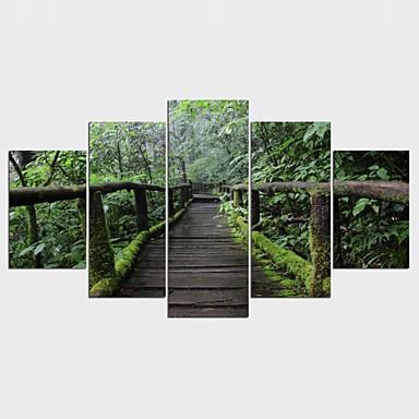 Estampados de Lonas Esticada Floral/Botânico Pastoril, 5 Painéis Tela de pintura qualquer Forma Estampado Decoração de Parede Decoração