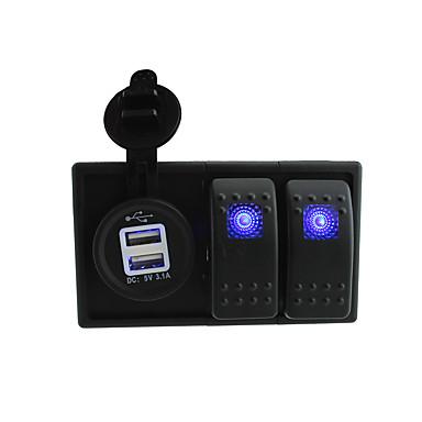 dc 12v / 24v levou 3.1a digital de tomada do carregador Dual USB com o roqueiro muda fios jumper e titular de habitação