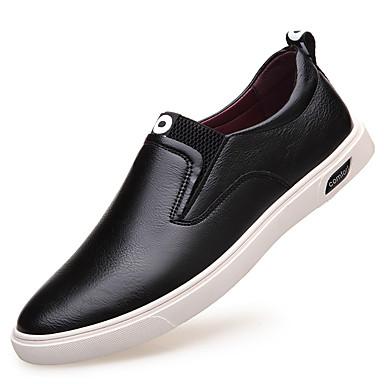 Homens sapatos Couro Primavera / Outono Conforto / Botas da Moda Mocassins e Slip-Ons Preto / Prata / Marron / Festas & Noite