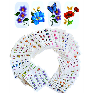 povoljno Njega noktiju i lakovi-1set 55pcs Naljepnice i trake / Naljepnica za prijenos vode Cvijet / Nail Decals / Nail Art DIY alat dodatak Naljepnice