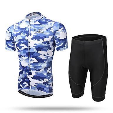 XINTOWN Herre Kortermet Sykkeljersey med shorts - Gul Dyr Sykkel Shorts Jersey Klessett, Fort Tørring, Pustende, Svettereduserende,