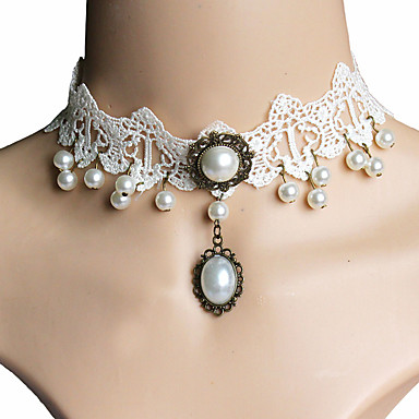 Enlig Snor Choker Halskjede - Imitert Perle, Blonde Grunnleggende, Mote Hvit Halskjeder Smykker Til Julegaver, Bryllup, Fest