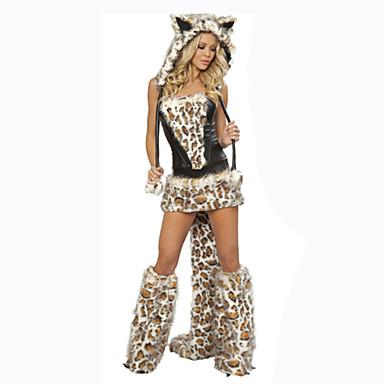 Ulv Cosplay Kostumer Dame Karneval Festival / høytid Halloween-kostymer Leopard Ensfarget