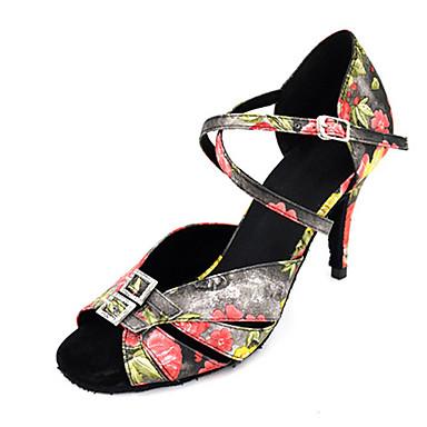 Mulheres Sapatos de Dança Latina / Sapatos de Jazz / Sapatos de Salsa Cetim Sandália / Salto Pedrarias / Presilha / Fru-Fru Salto