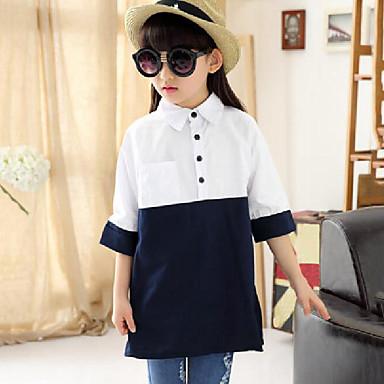 Niños Chica Diario Retazos Manga Larga Regular Algodón Camisa Azul Marino 140