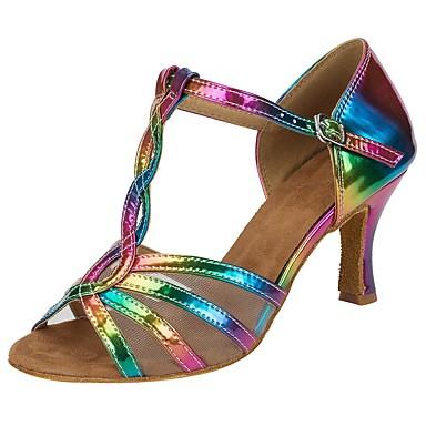 baratos Shall We® Sapatos de Dança-Mulheres Sapatos de Dança Couro Sintético Sapatos de Salsa Presilha / Fru-Fru Sandália / Salto Salto Personalizado Personalizável Arco-íris / Espetáculo