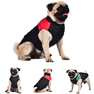 Cat Dog Coat Vest Dog Clothes Color Block Red Green Blue Cotton Costume For Pets Men's Women's Keep Warm