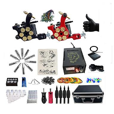 BaseKey Tattoo Machine Profesjonell Tattoo Kit, 2 pcs tattoo maskiner - 2 x legering tatovering maskin for fôr og skyggelegging