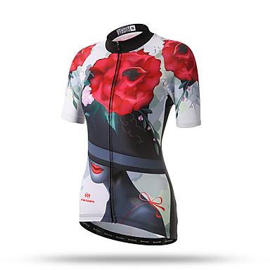 XINTOWN Mulheres Manga Curta Camisa para Ciclismo - Branco / Preto / Vermelho Floral / Botânico Moto Blusas, Secagem Rápida, Primavera, Terylene / Respirável / Com Stretch / Respirável