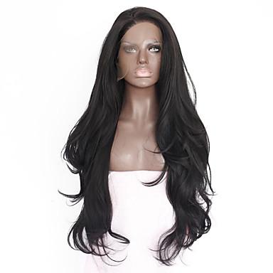 Χαμηλού Κόστους Συνθετικές περούκες με δαντέλα-Συνθετικές μπροστινές περούκες δαντέλας Ίσιο Kardashian Στυλ Δαντέλα Μπροστά Περούκα Μαύρο Μαύρο Συνθετικά μαλλιά 18-26 inch Γυναικεία Ανθεκτικό στη Ζέστη / Φυσική γραμμή των μαλλιών / Με αλογοουρά