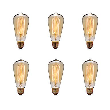 Ecolight™ 6pcs 40W E26 / E27 ST64 2300k Glødende Vintage Edison lyspære 220-240V