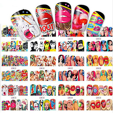 12designs/set Vannoverføringsklistre / Nail Sticker Sexy dame / Nail Decals Nail Art Design