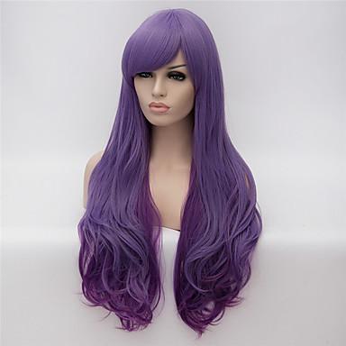 פאות סינתטיות מתולתל תספורת אסימטרית / עם פוני שיער סינטטי שיער טבעי סגול פאה בגדי ריקוד נשים ארוך ללא מכסה