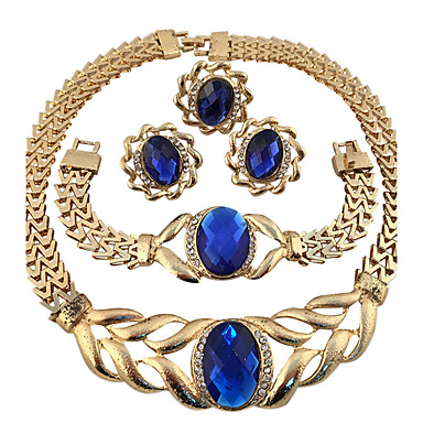 Cristal Conjunto de jóias - Cristal, Strass Flor Personalizada, Geométrico, Original Incluir Anel Colar / Pulseira Azul Para Festa Ocasião Especial Diário