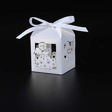 Cubóide Papel Pérola Suportes para Lembrancinhas com Fitas Caixas de Ofertas