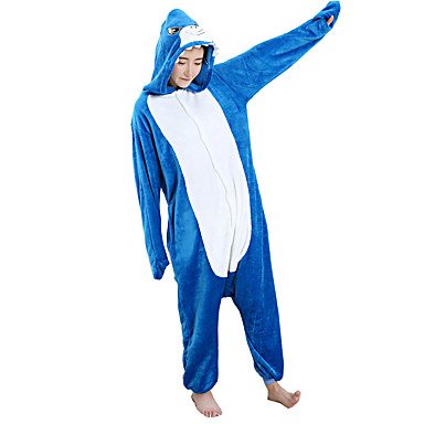 01bf006554 Adults  Cosplay Costume Kigurumi Pajamas Shark Onesie Pajamas Flannel Toison  Blue Cosplay For Men and
