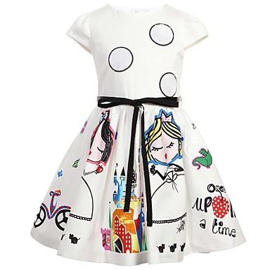 Χαμηλού Κόστους Φορέματα για κορίτσια-Νήπιο Κοριτσίστικα Λουλουδάτο Παραλία Στάμπα Αμάνικο Βαμβάκι Φόρεμα Λευκό
