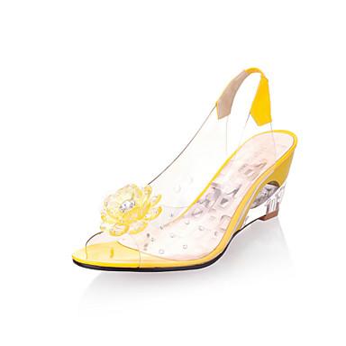 voordelige Damessandalen-Dames Sandalen Sleehak Peep Toe Strass / Appliqués Rubber Comfortabel / Club Schoenen Zomer Geel / Rood / Blauw / EU40