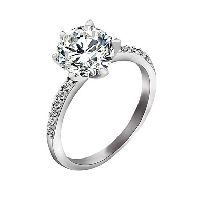 cheap Rings-Women's Diamond Solitaire Round Cut Simulated Ring Zircon Ladies Stylish Ring Jewelry Silver For Wedding Party Special Occasion Halloween Party / Evening Daily 6 / 7 / 8