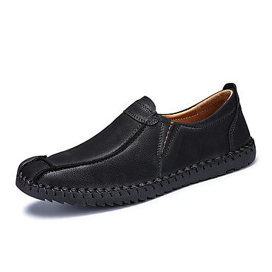 Homens sapatos Couro Verão Outono Solados com Luzes Mocassim Conforto Mocassins e Slip-Ons para Casual Escritório e Carreira Preto
