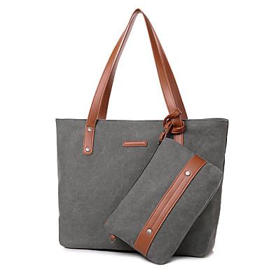 Mulheres Bolsas Tela de pintura Conjuntos de saco 2 Pcs Purse Set Sólido Bege / Cinzento / Café