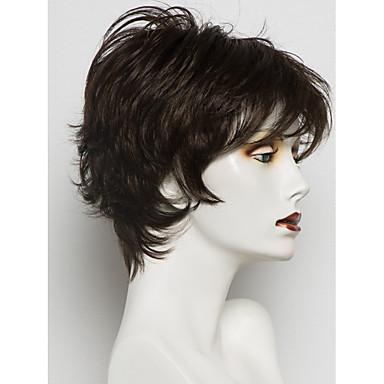 hesapli Güzellik ve Saç-İnsan Saçları Kapsız Peruklar Gerçek Saç Dalgalı Pixie Cut / Katmanlı Saç Kesimi / Kısa Saç Modelleri 2019 / Bantlı Berry stil Yan Parti Şort Makine Yapımı Peruk Kadın's