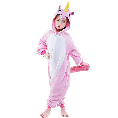 Kigurumi-pysjamas Hest / Enhjørning Onesie-pysjamas Kostume Flanell Fleece Rosa Cosplay Til Barne / Voksne Pysjamas med dyremotiv