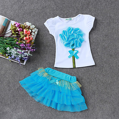 cheap Girls' Clothing Sets-Kids Girls' Floral Daily / Holiday / Going out Print Short Sleeve Regular Regular Cotton / Polyester Clothing Set Green