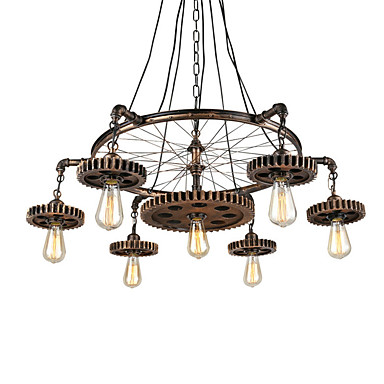 Vintage Tête Créative Lumières Pendentif Industrielle 7 Bois En Y76byfg