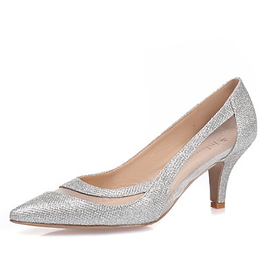 Mulheres Sapatos Gliter Primavera / Verão Saltos Salto Agulha Dedo Apontado Branco / Preto / Prata / Casamento / Festas & Noite