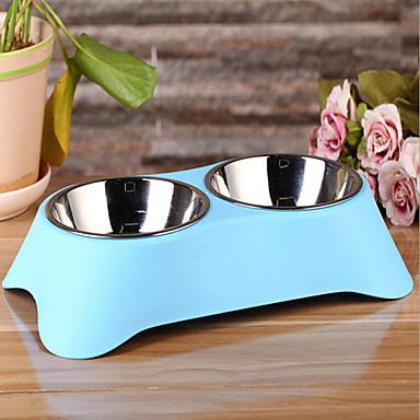 L Gato Cachorro Tigelas e Bebedouros Animais de Estimação Tigelas e alimentação de animais Prova-de-Água Verde Azul Rosa claro