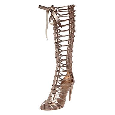 Mulheres Sapatos Courino Verão Gladiador Sandálias Salto Agulha Dedo Aberto Ziper / Cadarço Prata / Festas & Noite / Festas & Noite