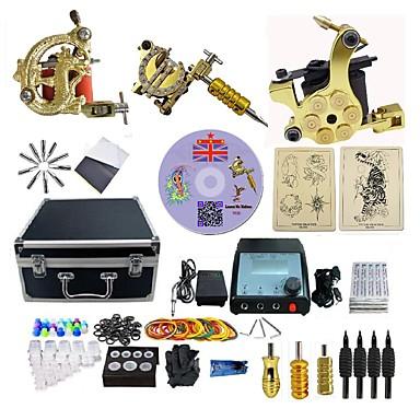 BaseKey Tattoo Machine Profesjonell Tattoo Kit - 3 pcs tattoo maskiner, Profesjonell Legering 20 W LED strømforsyning Etui inkludert 3 x legering tatovering maskin for fôr og skyggelegging