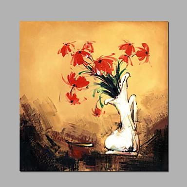 Hang malte oljemaleri Håndmalte - Blomstret / Botanisk Klassisk / Moderne Lerret / Stretched Canvas