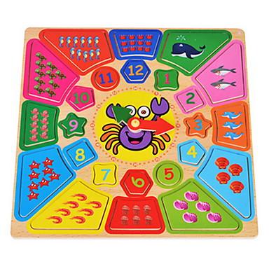 voordelige Rekenspeelgoed-Rekenspeelgoed Houten klok speelgoed Educatief speelgoed Klok Onderwijs Cartoon Jongens Meisjes Speeltjes Geschenk