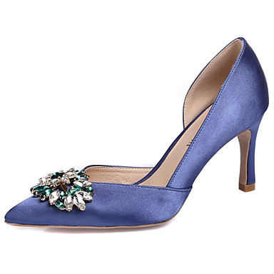cheap Wedding Shoes-Women's Silk Spring / Fall Club Shoes Heels Stiletto Heel Pointed Toe Rhinestone / Crystal / Sparkling Glitter Red / Light Pink / Royal Blue / Wedding / Party & Evening