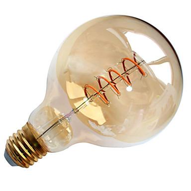 1pç 4W 300-400lm E26 / E27 Lâmpadas de Filamento de LED G95 1 Contas LED COB Filamento Macio Decorativa Branco Quente 220-240V