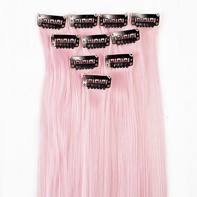 hesapli Sentetik Ek Saçlar-Neitsi Klasik Sentetik Saç 18 inç Ek saç Klipsli 1pack Kadın's Günlük