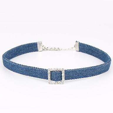 Damen Quadratisch Einzigartiges Design Klassisch Halsketten Strass Strass Stoff Halsketten . Hochzeit Besondere Anlässe Alltag Normal