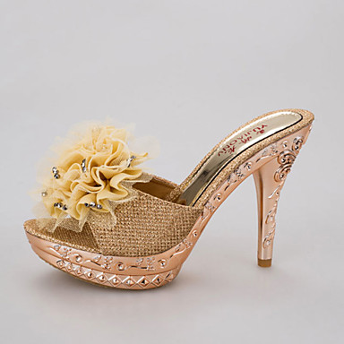billige Sandaler til damer-Dame Sandaler Stilethæle Rund Tå Blomst PU Slingback Sko Gang Sommer Guld / Sort / Sølv
