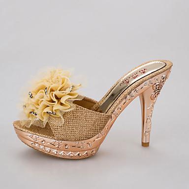Mujer Zapatos PU Verano Talón Descubierto Sandalias Paseo Tacón Bajo Dedo redondo Dorado / Negro / Plata 6lI8KF1Od