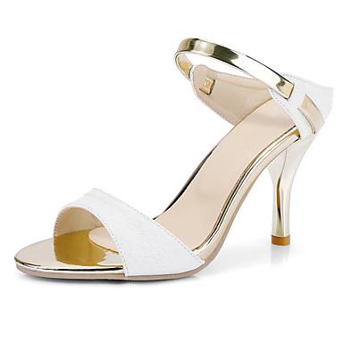 Mulheres Sapatos Courino Primavera / Verão Conforto Sandálias Salto Agulha Dedo Aberto Branco / Bege / Rosa claro