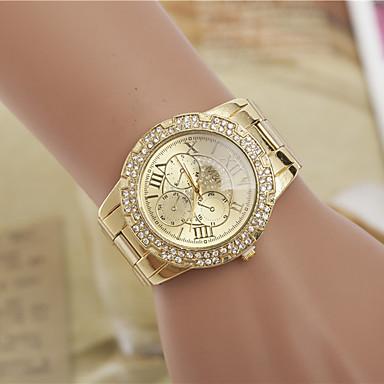 Kadın's Moda Saat Sahte Elmas Saat imitasyon Pırlanta İsviçre Tasarımcı Alaşım Bant Zarif Gümüş Altın Rengi
