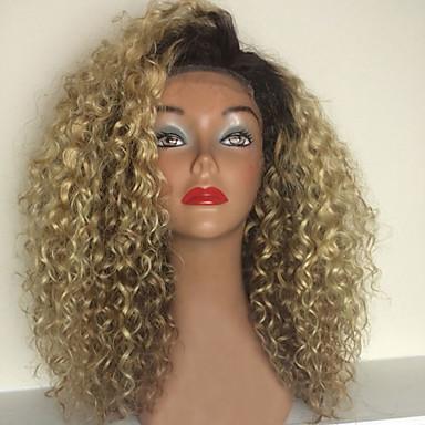 billige Blondeparykker med menneskehår-Ekte hår Halvblonder uten lim Blonde Forside Parykk stil Brasiliansk hår Kinky Curly Nyanse Parykk 150% Hair Tetthet med baby hår Ombre-hår Naturlig hårlinje Afroamerikansk parykk 100 % håndknyttet